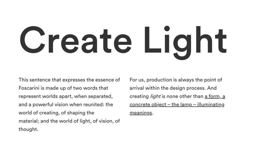 Create Light philosophy by Foscarini