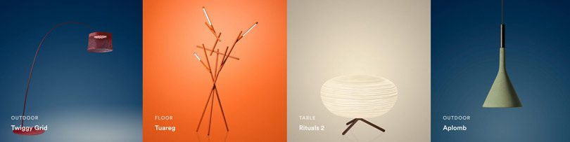 Collage of Foscarini Italian lighting design products