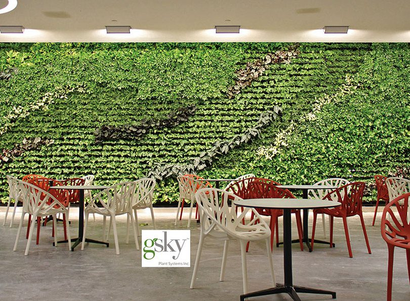 A green wall installation featuring Gsky Plant Systems, Inc. from The Lighting Quotient