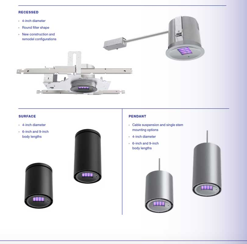 Mounting options for Care222 technology for healthcare lighting