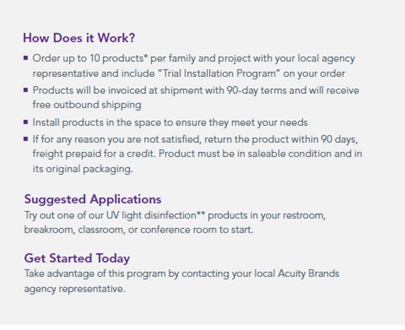 Acuity brands healthcare lighting trial installation program details