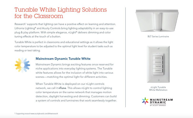 Tunable white solutions for the classroom explanation