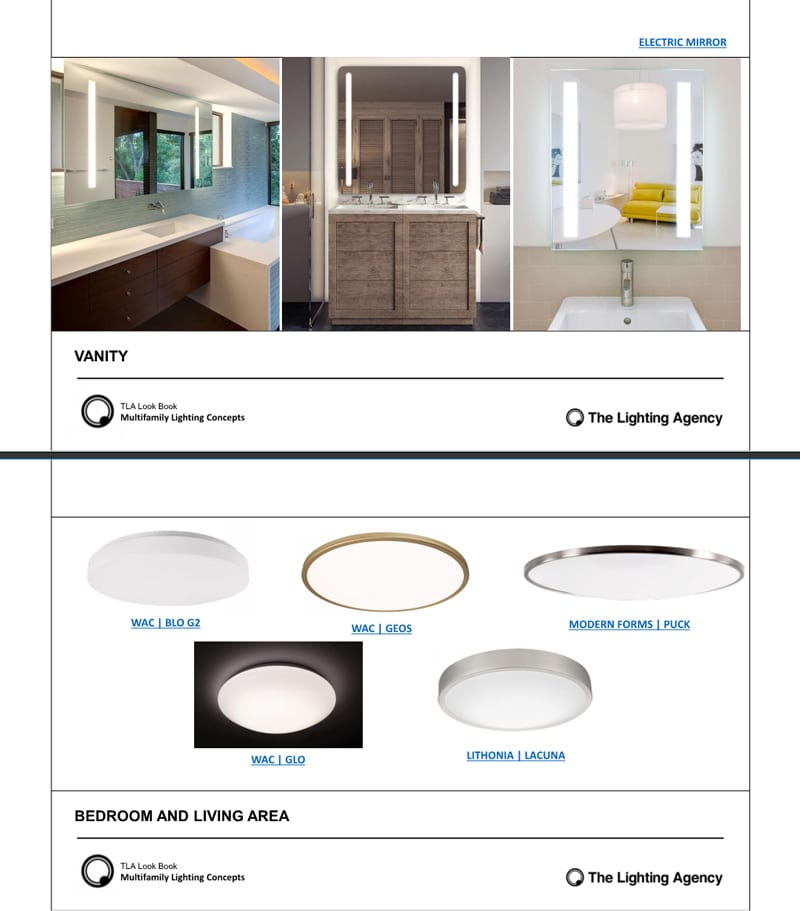 Example of ongoing industry look books we send to specifiers