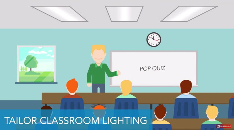 illustration of LED humanistic lighting classroom teacher and students