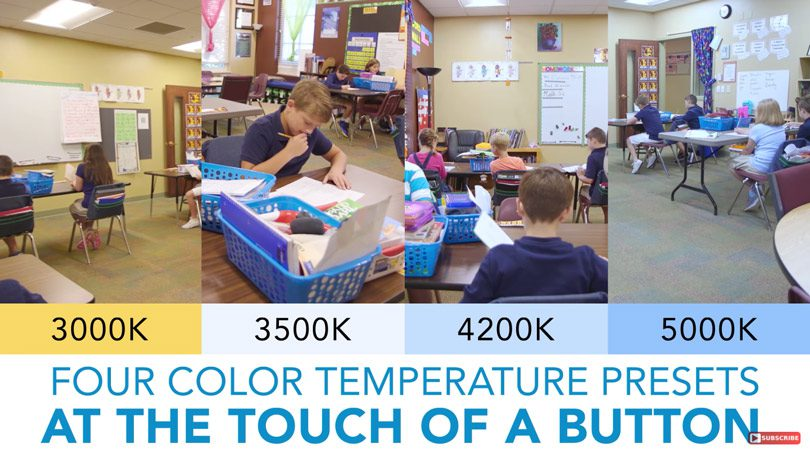 four color temperature presets in elementary classroom