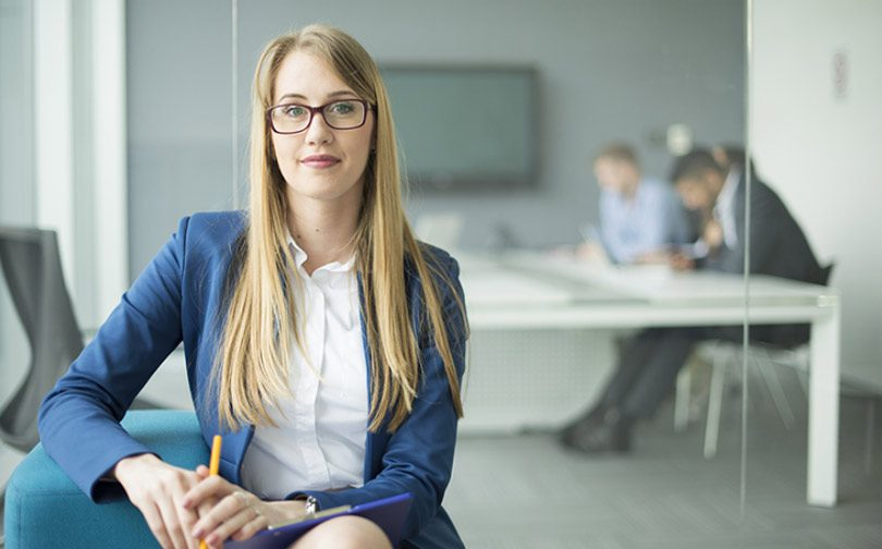 woman sitting in led lighting office setting